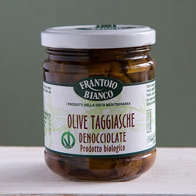 pitted organic Taggiasca olives in extra virgin olive oil